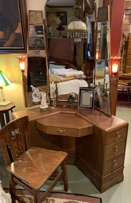 Art Deco Oak Dressing Table Suite Ca 1930s