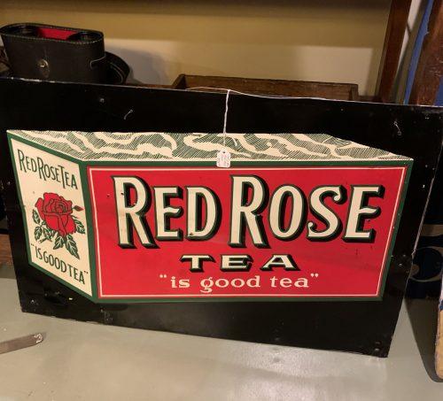 Red Rose Tea Embossed metal sign 1930s.