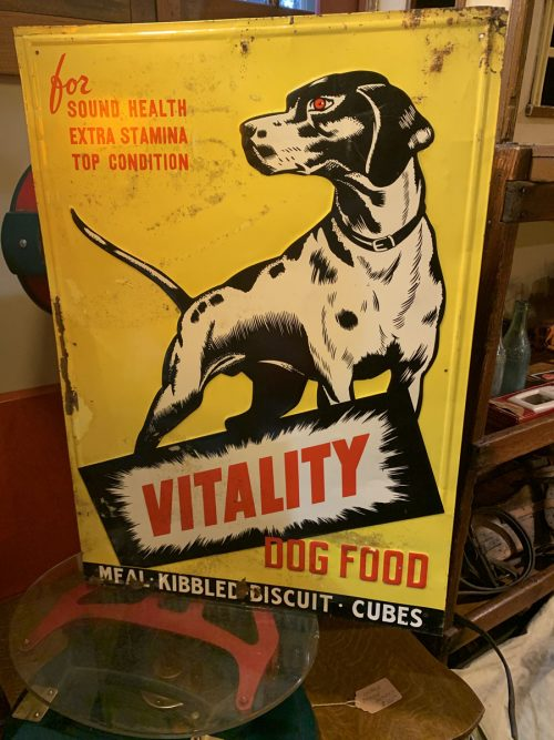 Pointer Dog Food Sign Metal Embossed 1940's- 50's .
